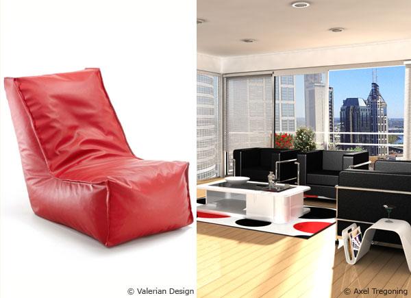 raumgestaltung mit farbe rote akzente setzen, mit dem sitzsack rote akzente setzen - sitzsackprofi, Design ideen